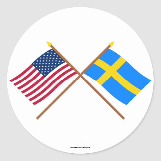 US and Sweden Crossed Flags Classic Round Sticker