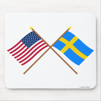 US and Sweden Crossed Flags Mouse Pad