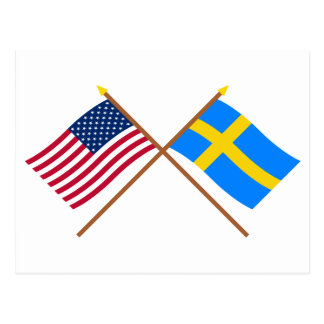 US and Sweden Crossed Flags Postcard