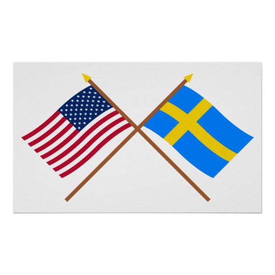 US and Sweden Crossed Flags Poster