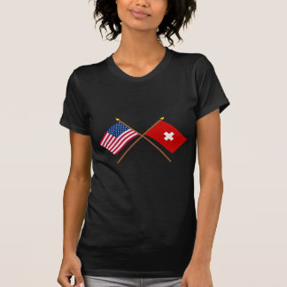 US and Switzerland Crossed Flags T Shirt