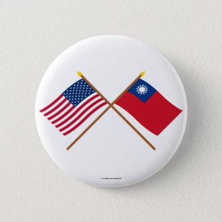 US and Taiwan Crossed Flags Button