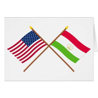 US and Tajikistan Crossed Flags Card