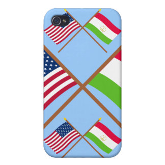 US and Tajikistan Crossed Flags Covers For iPhone 4