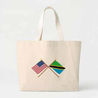 US and Tanzania Crossed Flags Canvas Bag