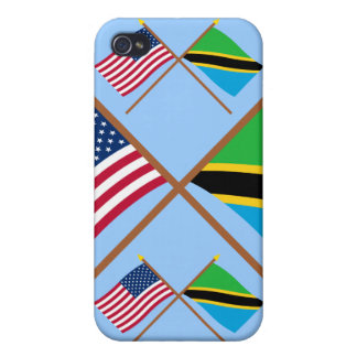 US and Tanzania Crossed Flags iPhone 4 Covers