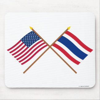 US and Thailand Crossed Flags Mouse Pad