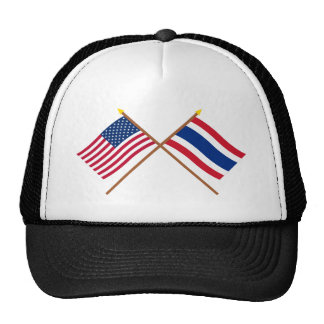 US and Thailand Crossed Flags Trucker Hat
