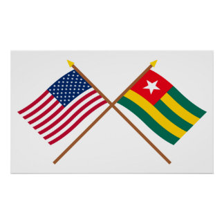 US and Togo Crossed Flags Poster
