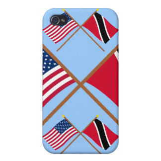 US and Trinidad & Tobago Crossed Flags Covers For iPhone 4