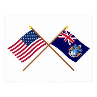 US and Tristan da Cunha Crossed Flags Postcard