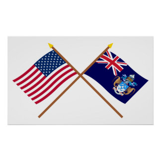 US and Tristan da Cunha Crossed Flags Poster