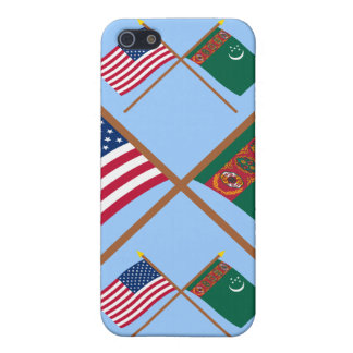 US and Turkmenistan Crossed Flags iPhone 5 Case