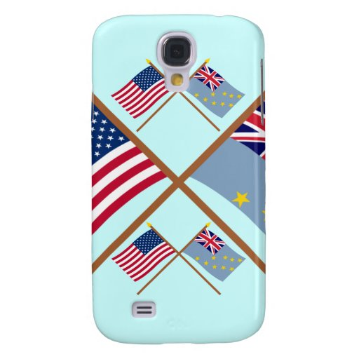 US and Tuvalu Crossed Flags Galaxy S4 Cases