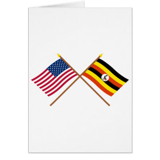 US and Uganda Crossed Flags Card
