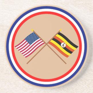 US and Uganda Crossed Flags Coaster