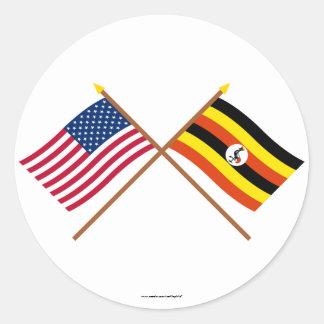 US and Uganda Crossed Flags Round Sticker