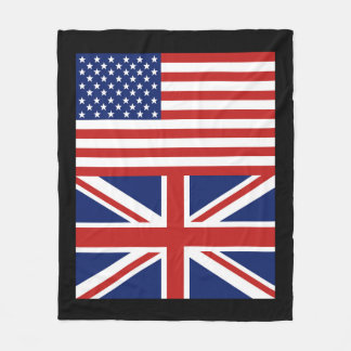 US and UK. Flags Fleece Blanket