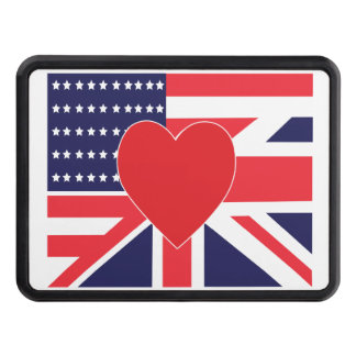 US AND UK Love Flag Trailer Hitch Cover