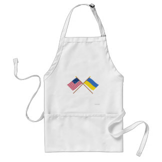 US and Ukraine Crossed Flags Adult Apron