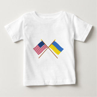 US and Ukraine Crossed Flags Baby T-Shirt