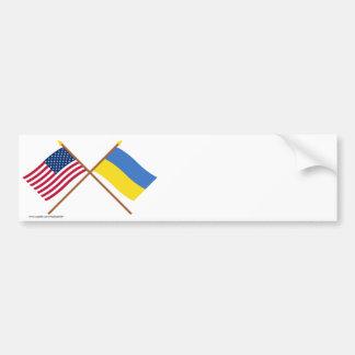 US and Ukraine Crossed Flags Bumper Sticker
