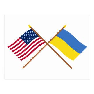 US and Ukraine Crossed Flags Postcard