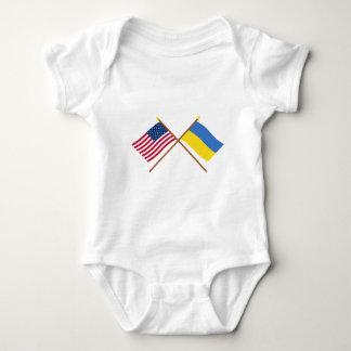 US and Ukraine Crossed Flags Tee Shirt