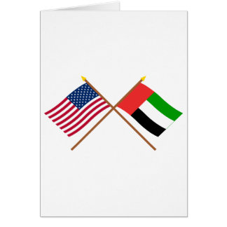US and United Arab Emirates Crossed Flags Card