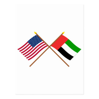 US and United Arab Emirates Crossed Flags Postcard