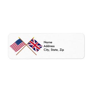 US and United Kingdom Crossed Flags Custom Return Address Label
