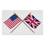 US and United Kingdom Crossed Flags Poster