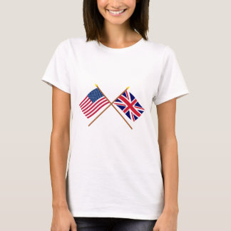 US and United Kingdom Crossed Flags T-Shirt