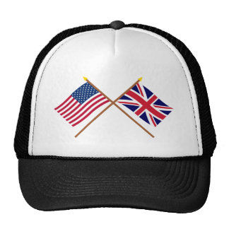 US and United Kingdom Crossed Flags Trucker Hat