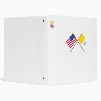 US and Vatican City Crossed Flags 3 Ring Binder