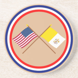US and Vatican City Crossed Flags Drink Coaster