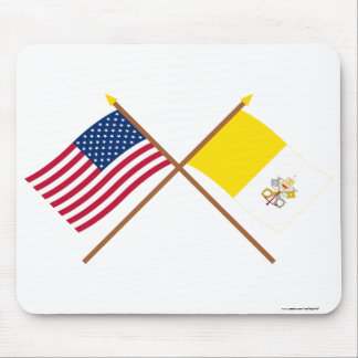 US and Vatican City Crossed Flags Mouse Pad