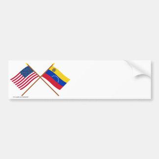 US and Venezuela Crossed Flags Car Bumper Sticker