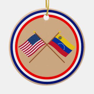 US and Venezuela Crossed Flags Ceramic Ornament