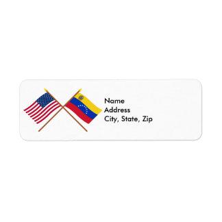 US and Venezuela Crossed Flags Label