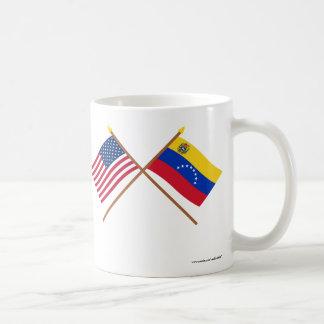 US and Venezuela Crossed Flags Mugs
