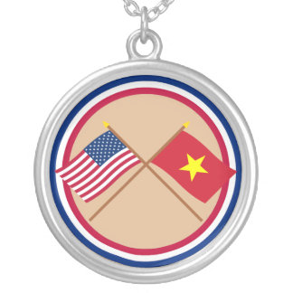 US and Vietnam Crossed Flags Necklaces
