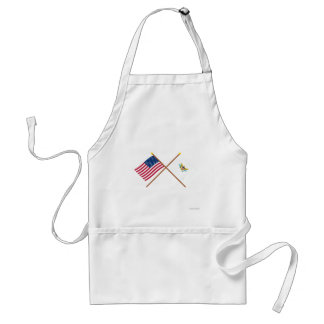 US and Virgin Islands Crossed Flags Adult Apron