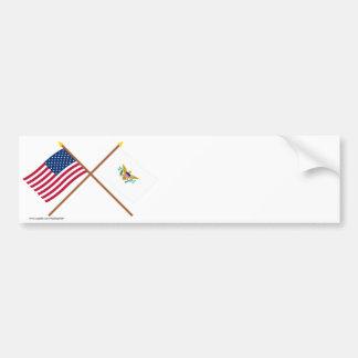 US and Virgin Islands Crossed Flags Car Bumper Sticker