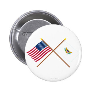 US and Virgin Islands Crossed Flags Pinback Button