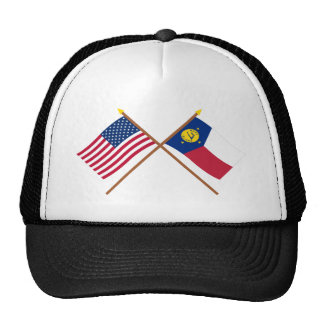 US and Wake Island Crossed Flags Trucker Hat