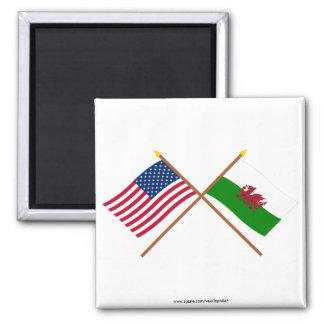 US and Wales Crossed Flags 2 Inch Square Magnet