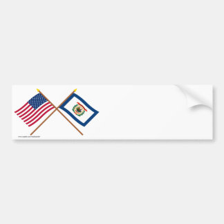 US and West Virginia Crossed Flags Bumper Sticker