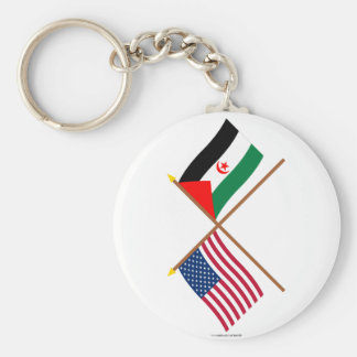 US and Western Sahara Crossed Flags Key Chains