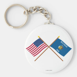 US and Wisconsin Crossed Flags Basic Round Button Keychain